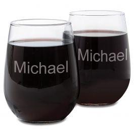Custom Stemless Wine Glass with Name