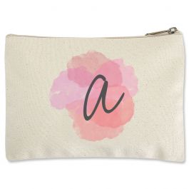 Custom Watercolor Initial Zippered Pouch - Small