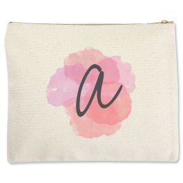 Custom Watercolor Initial Zippered Pouch - Large