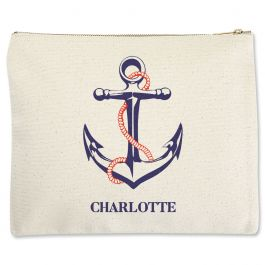 Custom Anchor Zippered Pouch - Large