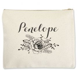 Custom Floral Name Zippered Pouch - Large