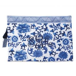Custom Monogrammed Chinoiseries Pouch - Floral