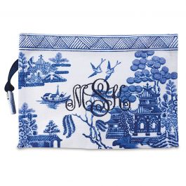 Custom Monogrammed Chinoiseries Pouch - Willow