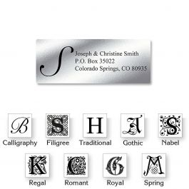 Monogram Silver Foil Address Labels - 96 Count Sheets