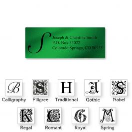 Monogram Green Foil Address Labels - 96 Count Sheets