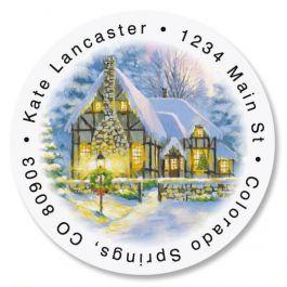 Snowy Cottage  Round Return Address Labels