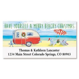 Christmas Beach Camper Deluxe Return Address Labels