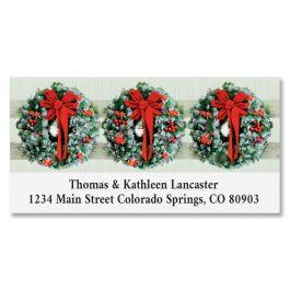 Wreaths In Snow Deluxe Return Address Label