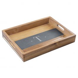 Personalized Acacia and Slate Serving Tray - Initial