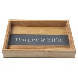 Personalized Acacia and Slate Serving Tray - One line