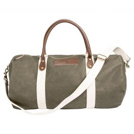 Custom Leather and Waxed Canvas Duffel - Greenish Brown