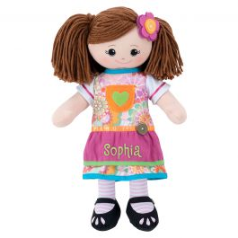 Custom Brunette Rag Doll with Apron Dress