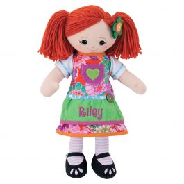 Custom Red-Hair Rag Doll with Apron Dress