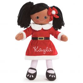 Custom African American Rag Doll in Santa Dress