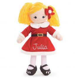 Custom Blonde Rag Doll in Santa Dress