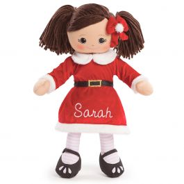 Custom Hispanic Rag Doll in Santa Dress