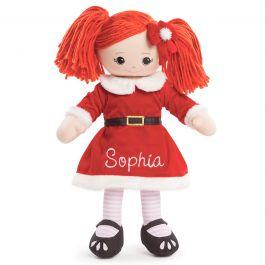 Custom Red-Hair Rag Doll in Santa Dress