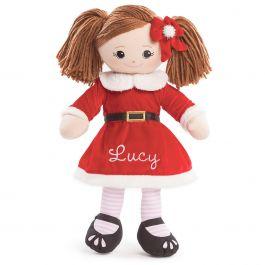 Custom Brunette Rag Doll in Santa Dress