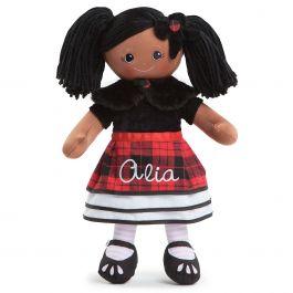 Custom African American Rag Doll in Plaid Dress