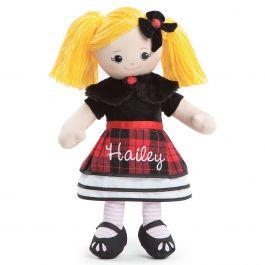 Custom Blonde Rag Doll in Plaid Dress