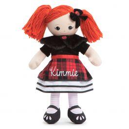Custom Red-Hair Rag Doll in Plaid Dress