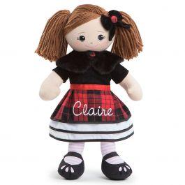 Custom Brunette Rag Doll in Plaid Dress