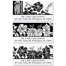 black and white deluxe return address labels colorful images