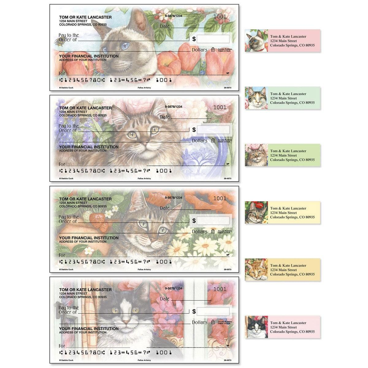 Feline Artistry Duplicate Checks With Matching Address Labels
