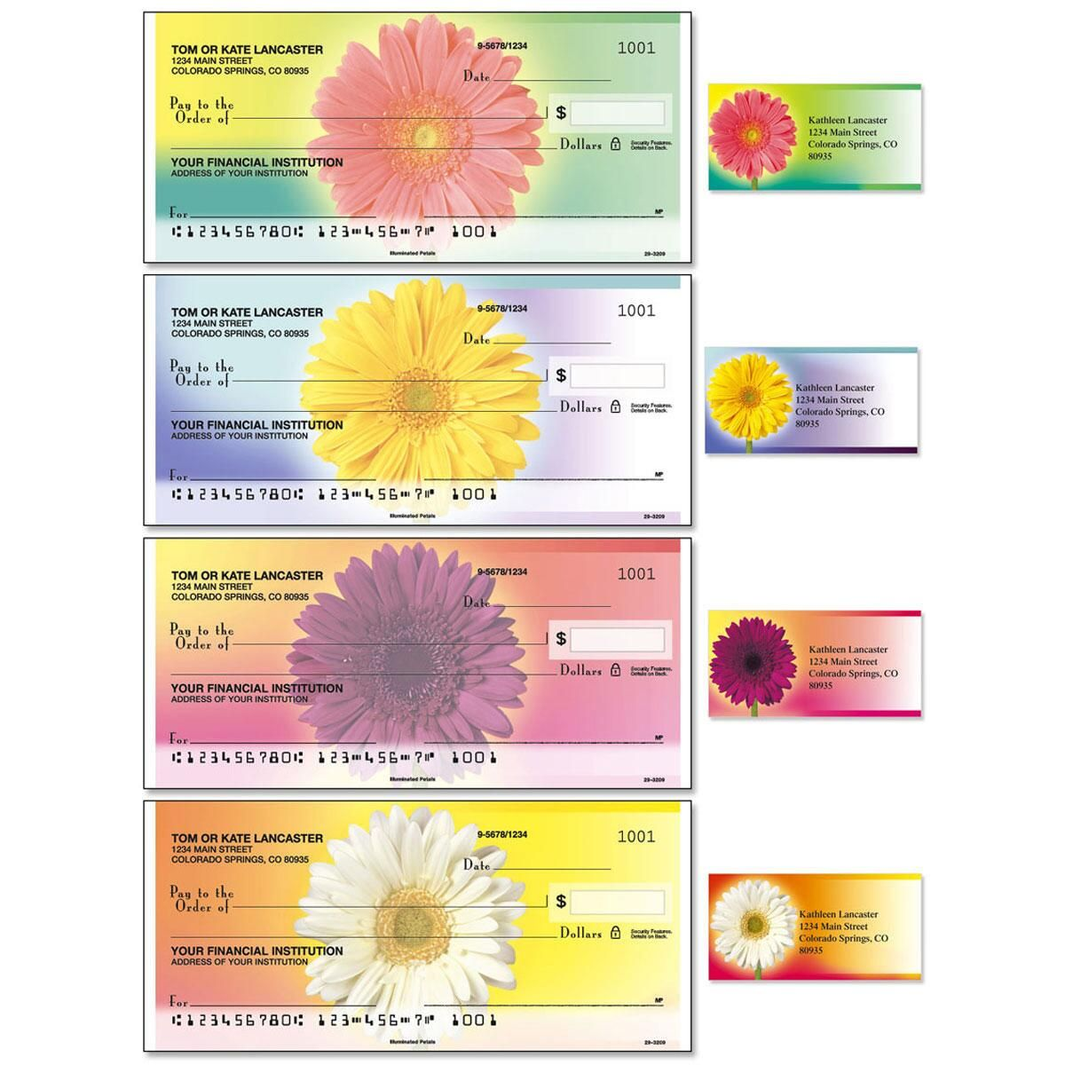 Illuminated Petals Single Checks With Matching Address Labels