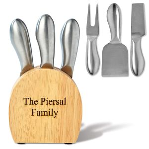 Custom Engraved Cheese Block & Utensils