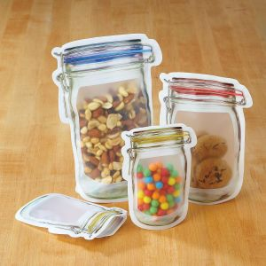 Mason Jar Zipper Bags - Set of all 3 sizes/9 bags