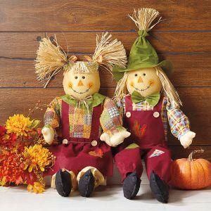 Sitting Scarecrow Girl & Boy