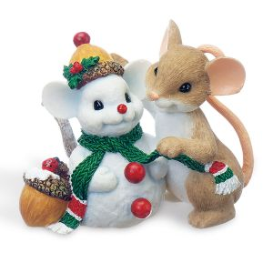 Mouse with Snowman Figurine by Charming Tails®