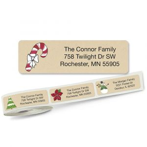Krafty Christmas Rolled Return Address Labels  (5 Designs)