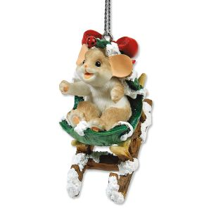 Holly-Day Sleigh Ride Ornament by Charming Tails®