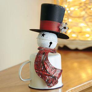 Enamel Tabletop Tin Cup Snowman