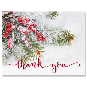 Berries & Pine Christmas Thank You Cards – Buy 1 Get 1 Free