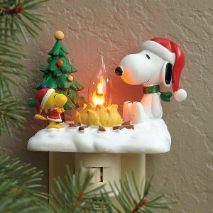 peanuts snoopy and woodstock by campfire night light - Unique Christmas Decorations