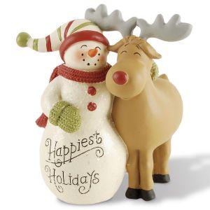 Snowman & Reindeer Figurine