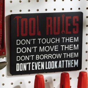 Wood Tools  Rules Plaque