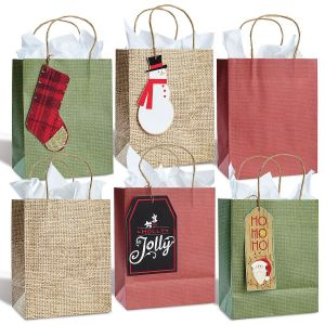 Kraft Burlap Gift Bag & Tag Set