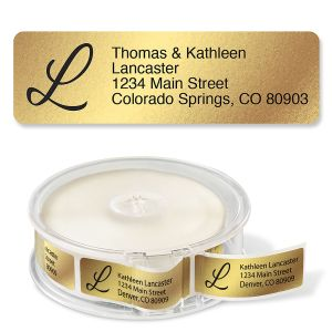 Gold Foil with Initial Standard Return Rolled Address Labels