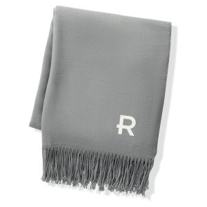 Grey Two Toned Reversible Personalized Throw