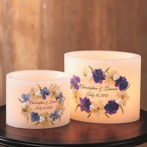 Personalized Floral Wedding Candles