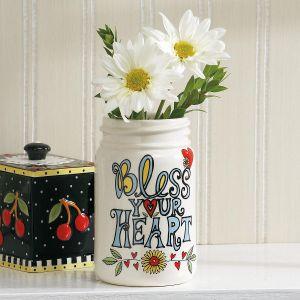 Bless Your Heart Ceramic Mason-Style Jar