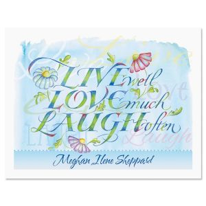 Live, Love, Laugh Personalized Note Cards