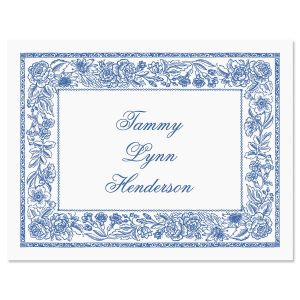 Blue Toile  Personalized Note Cards