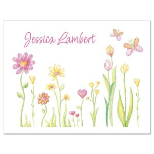 Cheery Flowers Personalized Note Cards