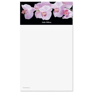 Orchids on Black Notepad