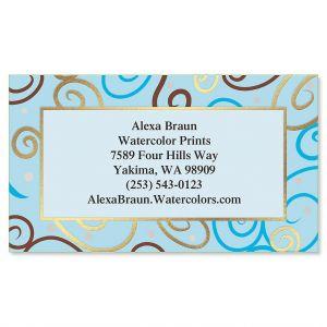 Blue Pattern Foil Business Cards